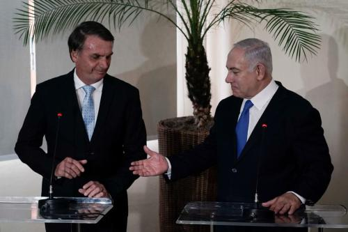Israel's Prime Minister Benjamin Netanyahu (R) and Brazil's President-elect Jair Bolsonaro give a press conference after holding a meeting at the Copacabana fort in Rio de Janeiro, Brazil, on December 28, 2018.(Photo by LEO CORREA/AFP/Getty Images)