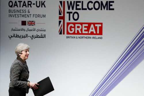 Britain's Prime Minister Theresa May arrives on stage to speak during the Qatar-UK Business and Investment Forum in Birmingham on March 28, 2017 [DARREN STAPLES/AFP/Getty Images]