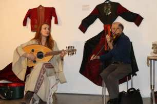 Julia Katerina, a British-German musician and singer at 'BAYT | The Art of Arab Hospitality' exhibition at the P21 Gallery in London, UK on 18 January 2019 [Jehan Alfarra / Middle East Monitor]