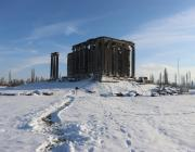 A drone photo shows a view of Aizanoi Ancient City during winter. The city has a temple built for Zeus which is the best-preserved temple in all of Anatolia. In Turkey on 9 January 2019 [Muharrem Cin/Anadolu Agency]