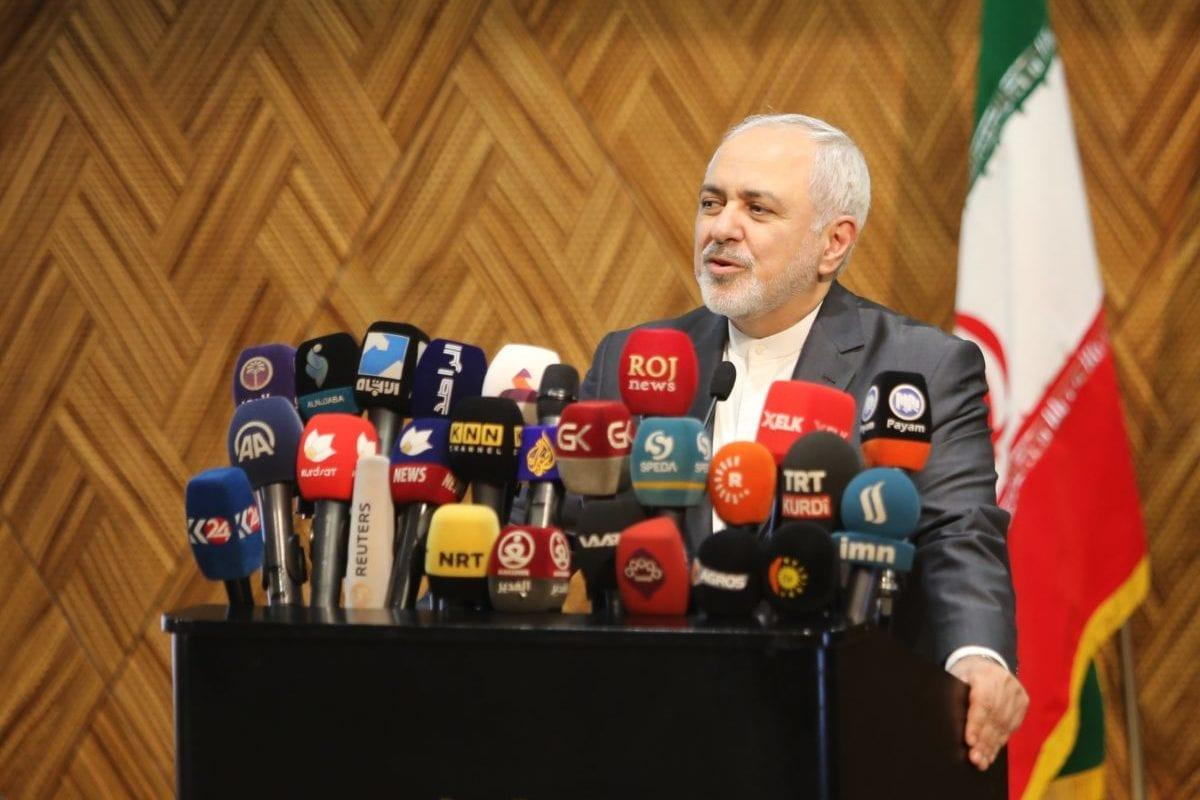 Iranian Foreign Minister Javad Zarif makes a speech during 'Iran - Iraqi Kurdish Regional Government (KRG) common commercial conference' in Sulaymaniyah, Iraq on January 15, 2019 [Feriq Fereç / Anadolu Agency]