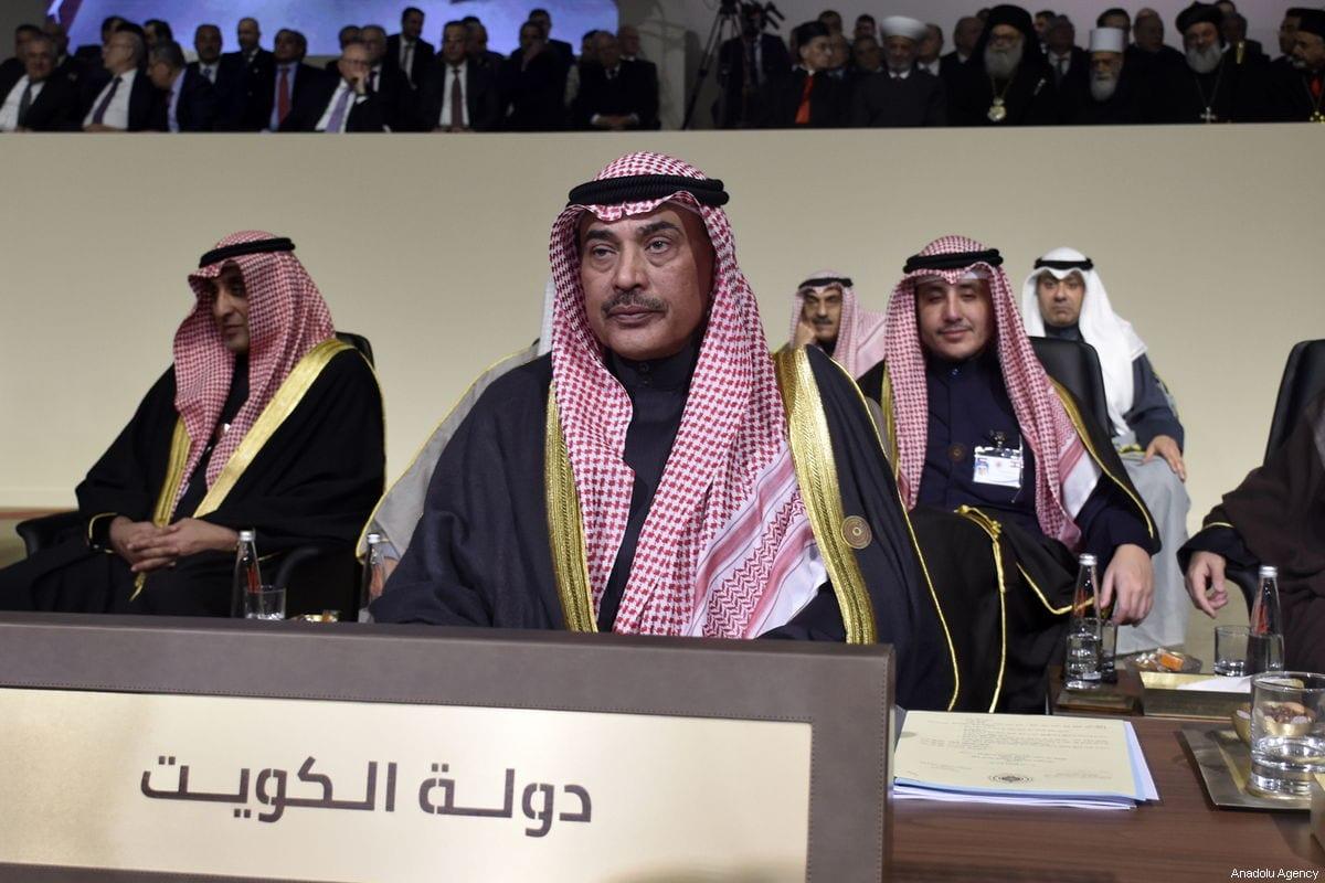Sheikh Sabah Al-Khalid Al-Hamad Al-Sabah (front) participates in the Arab League's fourth Economic and Social Development Summit on 20 January 2019 in Beirut, Lebanon. [Jihad Muhammad Behlok - Anadolu Agency]