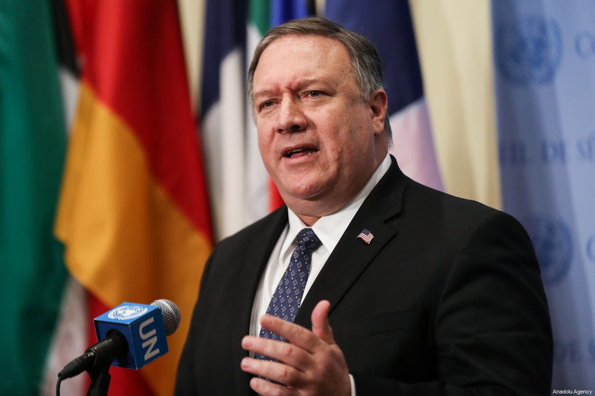NEW YORK USA- JANUARY 26: U.S. Secretary of State Mike Pompeo addresses the media following a Security Council meeting on the situation in Venezuela at the United Nations headquarters in New York United States