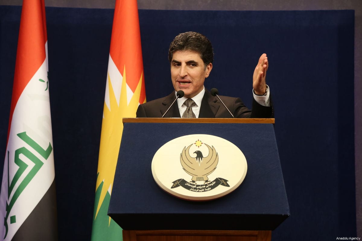Prime Minister of Iraqi Kurdish Regional Government (KRG), Nechirvan Barzani holds a press conference in Erbil, Iraq on 27 January 2019. [Hemn Baban - Anadolu Agency]