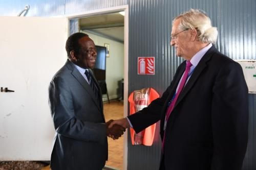 Ambassador Francisco Madeira, the Special Representative of the Chairperson of the African Union Commission (SRCC) for Somalia, welcomes Nicholas Haysom (right), the New UN Secretary-General's Special Representative for Somalia, in Mogadishu, on 5 October 2018. [AMISOM Photo / Omar Abdisalan]