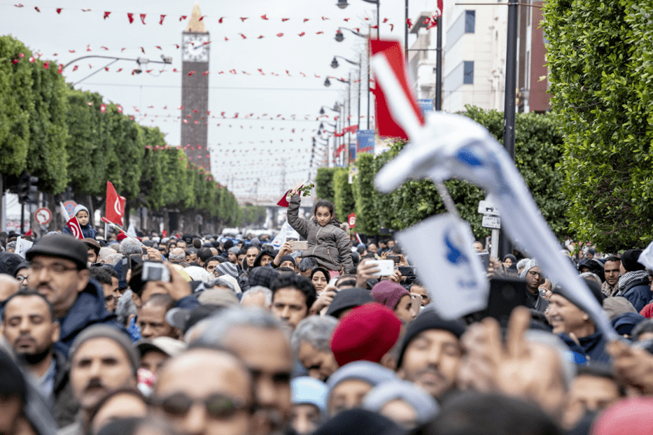 "Nahda Movement Representative Abdulkarim al-Haruni attends a rally marking the eighth anniversary of ""Arab Spring"" at Habib Burgiba Street in the capital Tunis on 14 January, 2019 [Nacer Talel/Anadolu Agency]"