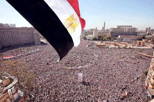 Egyptians come together, participating in the revolution that took place on 25th January 2011 [Twitter]