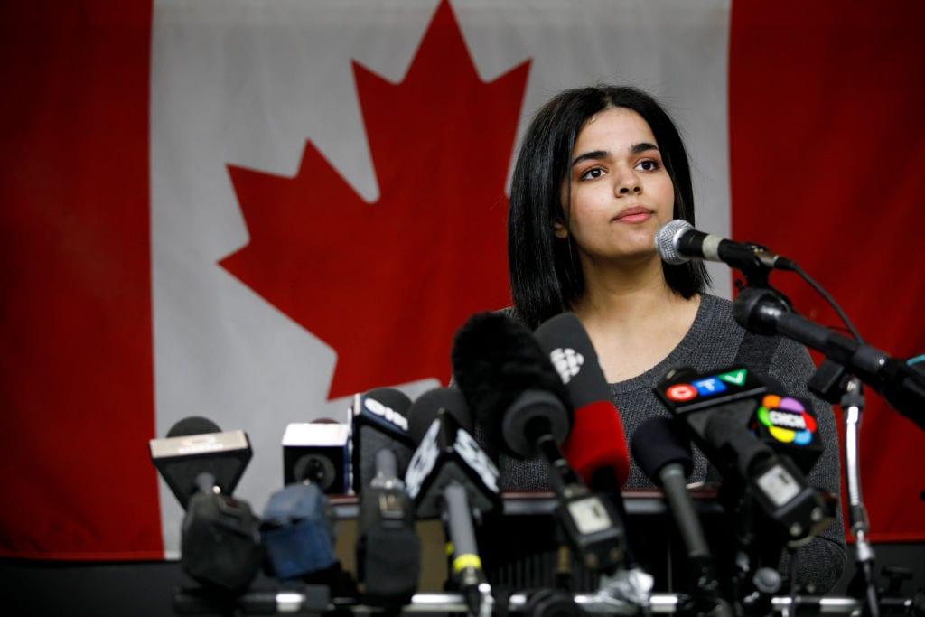 Rahaf Mohammed al-Qunun, 18, addresses the media during a press conference  in