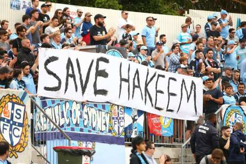 Sydney FC fans display a sign in support for Bahraini footballer Hakeem al-Araibi during the round 14 A-League match between Sydney FC and the Newcastle Jets at WIN Jubilee Stadium on 19 January 2019 in Sydney, Australia. [Mark Nolan/Getty Images]
