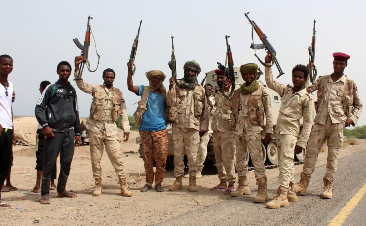 Sudanese soldiers fighting alongside Yemen's Saudi-backed pro-government forces near Hudaydah in Yemen on 22 June 2018 [SALEH AL-OBEIDI/AFP/Getty Images]