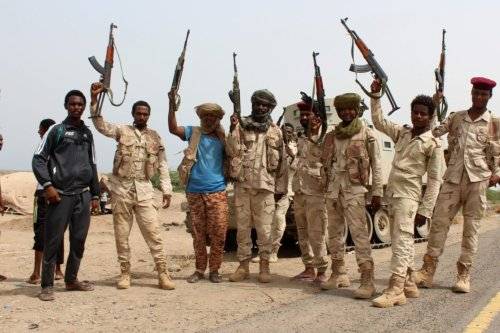 Sudanese soldiers fighting alongside Yemen's Saudi-backed pro-government forces near Hudaydah in Yemen on 22 June 2018 [SALEH AL-OBEIDI/AFP/Getty Images]
