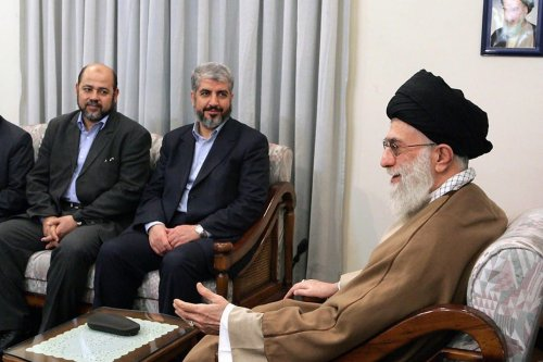 Iran's supreme leader Ayatollah Ali Khamenei (R) meets with Palestinian Islamist movement Hamas leadres Khaled Meshaal (2nd R), Mussa Abu Marzuq (2nd L) and an unidentified man in Tehran on 1 February 2009. [AFP/Getty Images]