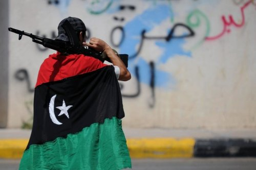 Image of a Libyan rebel holding a rifle [undated / file photo]