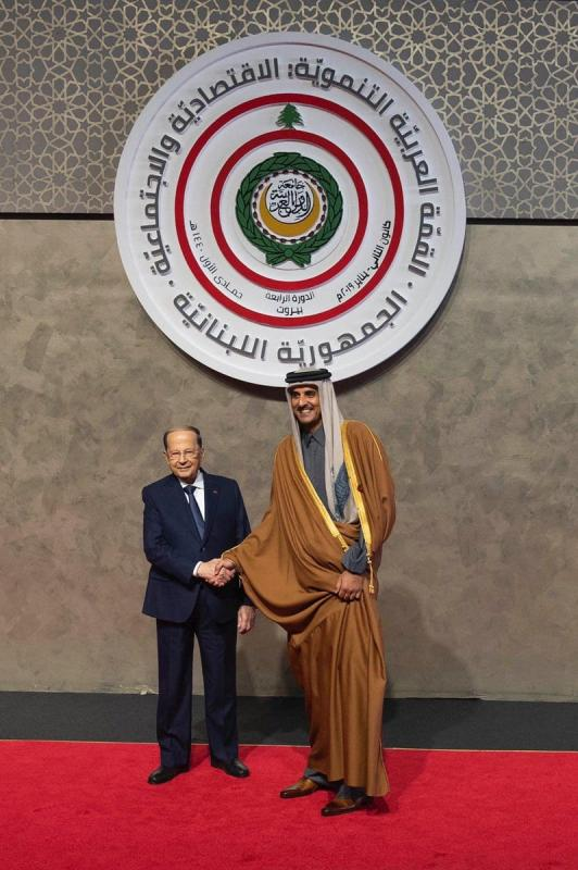 Qatari Emir Tamim Al Thani meets Lebanese President Michel Aoun in Beirut, Lebanon, on 20 January 2019