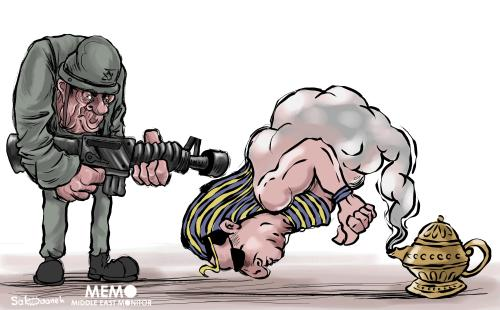 Egyptian president granting the wishes of the Israeli army - Cartoon [Sabaaneh/MiddleEastMonitor]