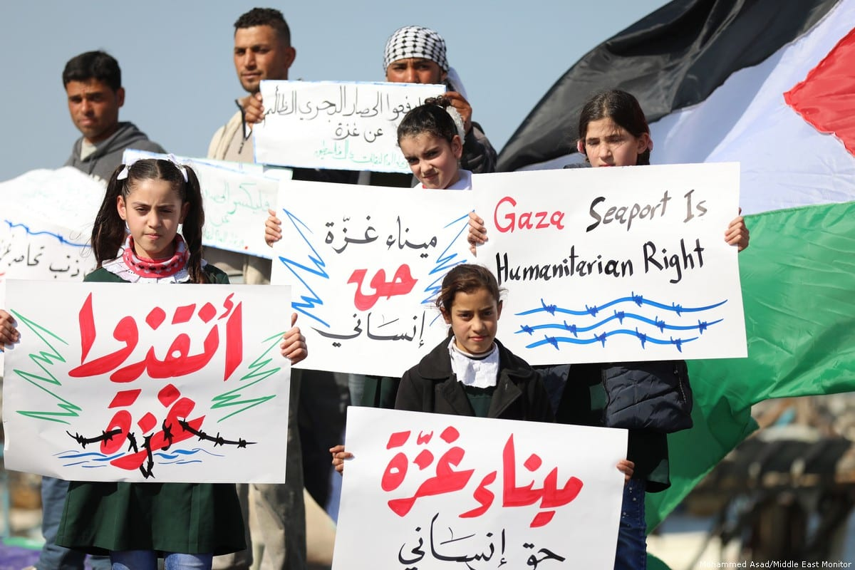 Palestinians in Gaza protest to end the Israeli siege on the Strip on 5 February 2019 [Mohammed/Asad/Middle East Monitor]