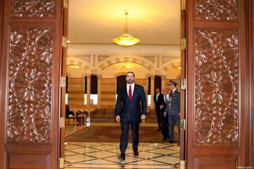 Prime Minister of Lebanon, Saad Hariri (C) arrives to meet with Lebanese President Michel Aoun (not seen) at Baabda Palace, in Beirut, Lebanon on 2 February 2019. [Lebanese Prime Ministry Office / Handout - Anadolu Agency]
