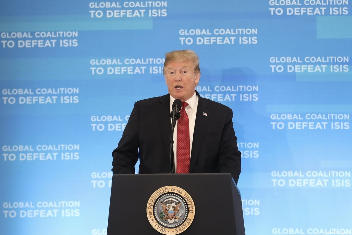 US President Donald Trump makes a speech during the meeting of the Ministers of the Global Coalition to Defeat Daesh, at the State Department in Washington, United States on 6 February 2019. [ Mustafa Kamacı - Anadolu Agency ]