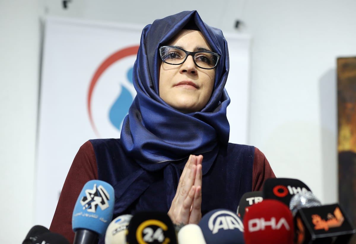 Murdered Saudi journalist Jamal Khashoggi's fiancee Hatice Cengiz speaks during a press conference on a book entitled