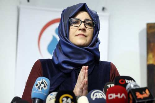 "Murdered Saudi journalist Jamal Khashoggi's fiancee Hatice Cengiz speaks during a press conference on a book entitled ""Jamal Khashoggi: His Life, Struggles and Secrets""at Turkish Arab Media Association in Istanbul, Turkey on 8 February 2019. [Islam Yakut - Anadolu Agency]"