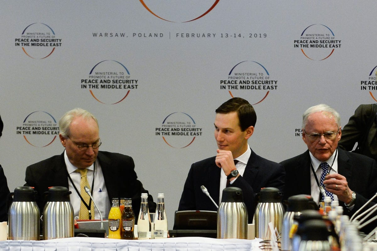 "Jared Kushner,Senior Advisor to the US President and son-in-law during the opening of the plenary session at the"" Ministerial to Promote a Future of Peace and Security in the Middle East"" co hosted by US and Poland in the National Stadium in Warsaw, Poland on 14 February 2019. [Omar Marques - Anadolu Agency]"