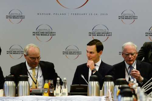 """Jared Kushner,Senior Advisor to the US President and son-in-law during the opening of the plenary session at the"""" Ministerial to Promote a Future of Peace and Security in the Middle East"""" co hosted by US and Poland in the National Stadium in Warsaw, Poland on 14 February 2019. [Omar Marques - Anadolu Agency]"""