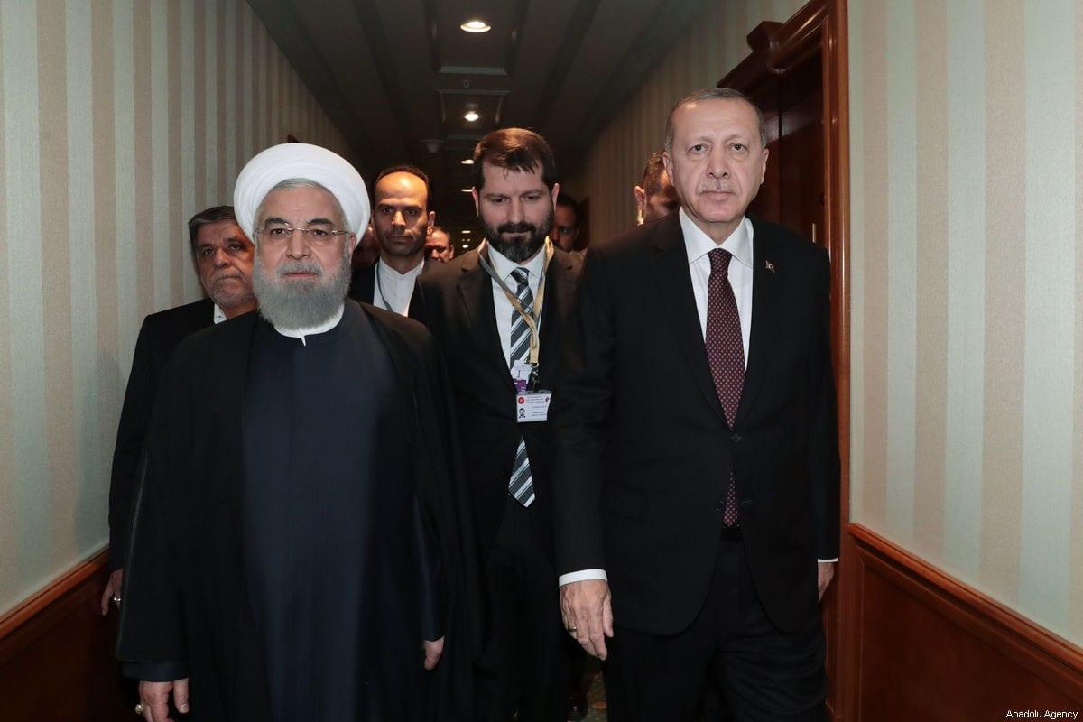 President of Turkey, Recep Tayyip Erdogan (R) attends a meeting with President of Iran, Hassan Rouhani (L) in Russia's coastal city of Sochi ahead of the trilateral summit on Syria on February 14, 2019 [TURKISH PRESIDENCY / MURAT CETINMUHURDAR / HANDOUT - Anadolu Agency]