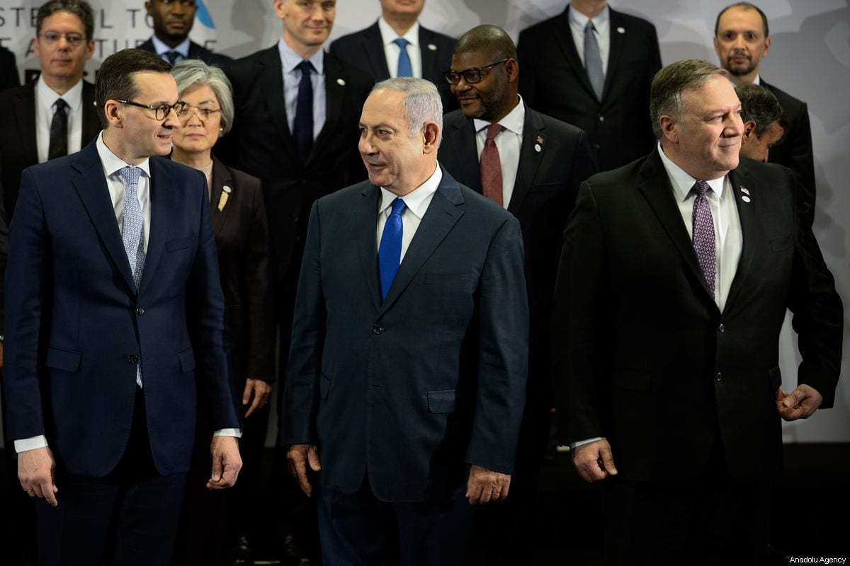 "(L-R) Polish Prime Minister, Mateusz Morawiecki, Israeli Prime Minister, Benjamin Netanyahu and US Secretary of State Mike Pompeo are seen during the family photo at the"" Ministerial to Promote a Future of Peace and Security in the Middle East"" co hosted by US and Poland in the National Stadium in Warsaw, Poland on February 14, 2019 [Omar Marques / Anadolu Agency]"