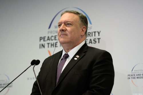 """US Secretary of State Mike Pompeo delivers a speech during a joint press conference with Polish Foreign Minister, Jacek Czaputowicz (not seen) at the """"Ministerial to Promote a Future of Peace and Security in the Middle East"""" co hosted by US and Poland in the National Stadium in Warsaw, Poland on 14 February 2019. [Omar Marques - Anadolu Agency]"""