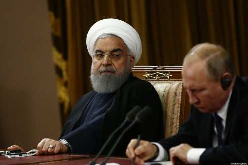 Iranian President Hassan Rouhani (L) , Turkish President Recep Tayyip Erdogan (not seen) and Russian President Vladimir Putin (R) hold a joint press conference following the 4th trilateral summit on Syria on 14 February 2019 in Sochi, Russia. [Sefa Karacan/Anadolu Agency]