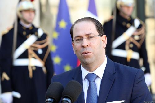 Tunisia's Prime Minister Youssef Chahed speaks to media after a meeting with French President Emmanuel Macron (not seen) at the Elysee Palace in Paris, France on February 15, 2019 [Mustafa Yalçın / Anadolu Agency]
