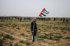 "A Palestinian man stands with a Palestinian flag as Israeli forces intervene demonstrators during a ""Great March of Return"" demonstration at Huzaa district of Khan Yunis, Gaza on February 15, 2019. ( Mustafa Hassona - Anadolu Agency )"