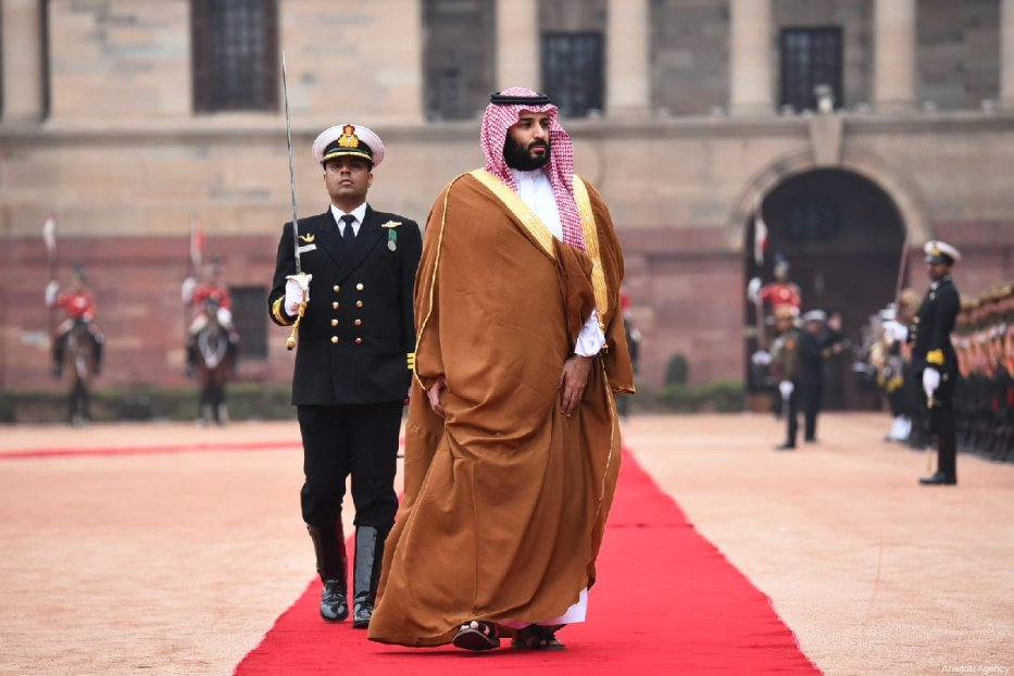 Crown Prince of Saudi Arabia Mohammad bin Salman (R) is welcomed Indian Prime Minister Narendra Modi (not seen) with an official welcoming ceremony at presidential palace in New Delhi, India on February 20, 2019 [Indian Foreign Ministry / Handout - Anadolu Agency]