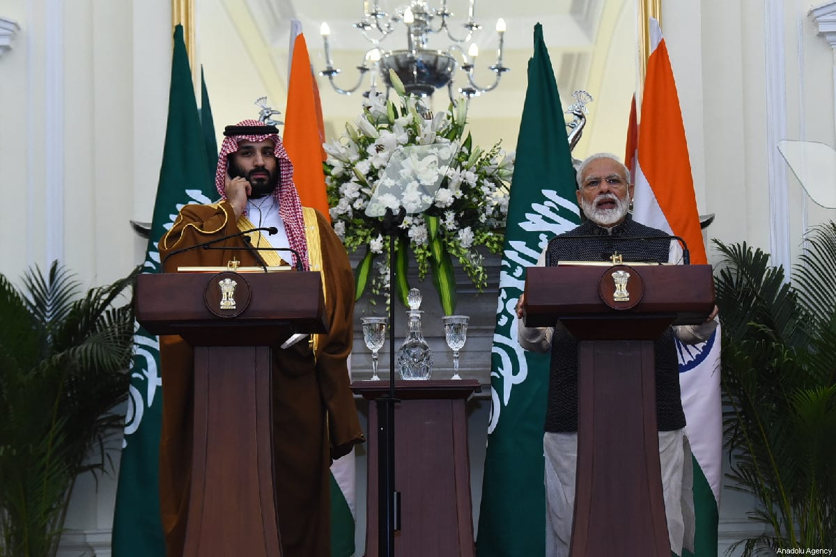 Crown Prince of Saudi Arabia Mohammad bin Salman (L) and Indian Prime Minister Narendra Modi (R) in New Delhi, India on 20 February 2019 [Indian Foreign Ministry/Anadolu Agency]
