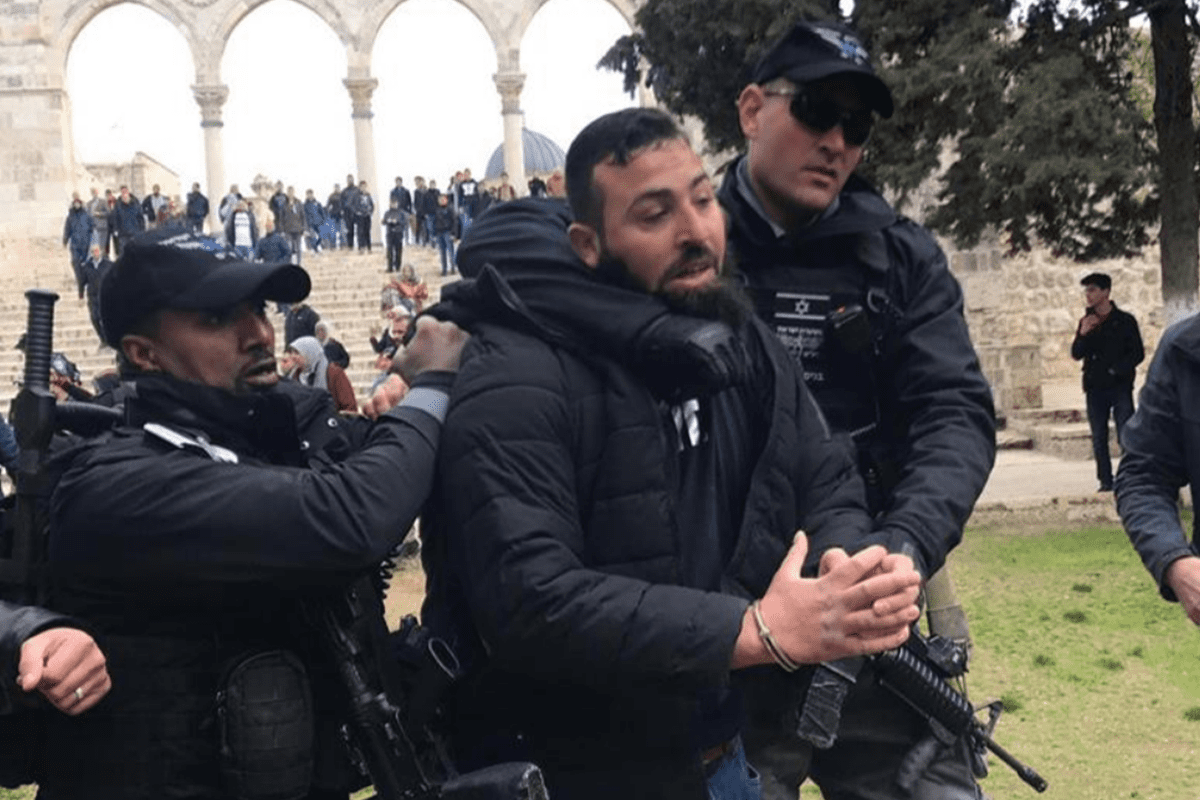 Tension and clashes spread at Al-Aqsa Mosque Compound after the Israeli authorities closed one of the gates leading to the Mosque, al-Rahma (Mercy) Gate, and prevented the Palestinians from moving in or out on 18 February, 2019 [Twitter]