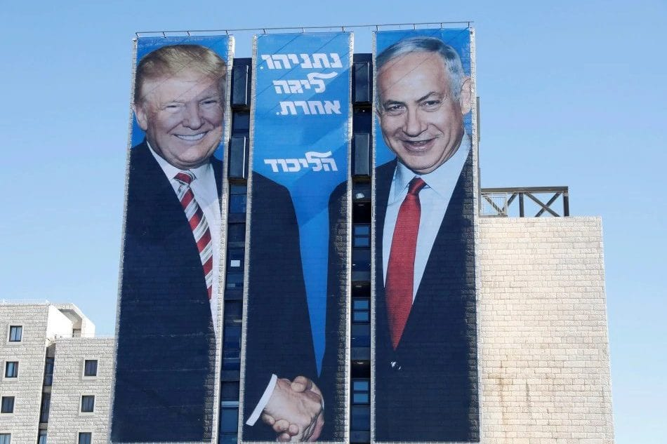 "An election billboard by Benjamin Netanyahu's Likud party, showing a handshake with US' Donald Trump, with the Hebrew caption: ""Netanyahu. In another league"", seen in Tel Aviv, Israel on February 03, 2019 [bharianmy / Twitter]"
