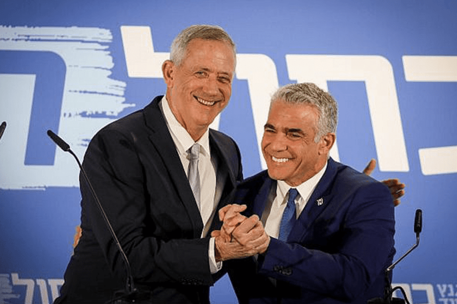 Former Israeli army chief Benny Gantz and opposition politician Yair Lapid [Twitter]