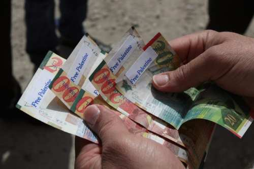 """A Palestinian man holds News Israeli Shekels' bills marked with stickers reading """"Free Palestine"""" on March 7, 2011 in the West Bank city of Ramallah, as part of a campaign aimed to peacefully express opposition to Israel's occupation. [ABBAS MOMANI/AFP/Getty Images]"""