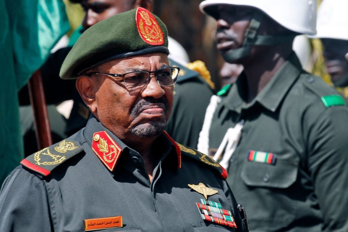 Sudanese President Omar al-Bashir arrives to address members of the Popular Defence Force (PDF), a paramilitary group, in the capital Khartoum on February 12, 2019 [ASHRAF SHAZLY/AFP/Getty Images]