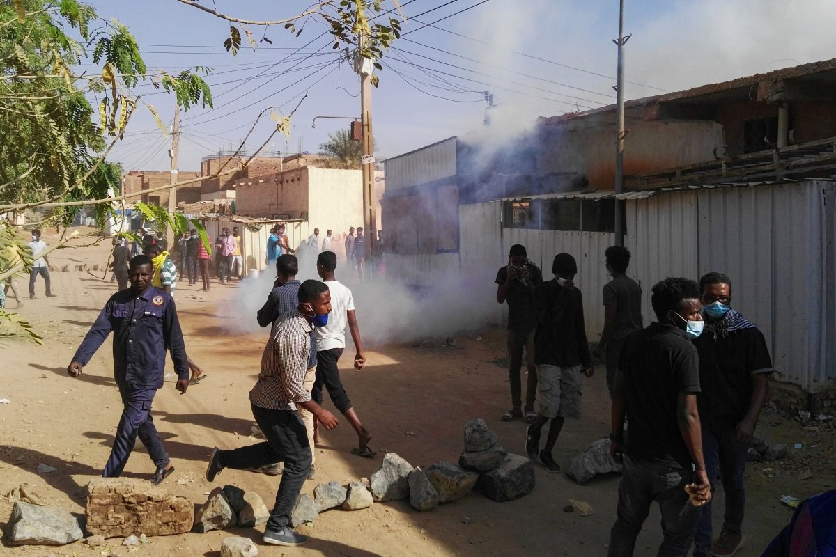 Sudanese protesters demonstrate against their government in the capital Khartoum's district of Burri on February 24, 2019 [STRINGER/AFP/Getty Images]