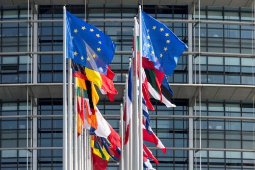Flags of the member states fly in front of the building of the European parliament in Strasbourg, eastern France, on April 3, 201 [SEBASTIEN BOZON/AFP/Getty Images]