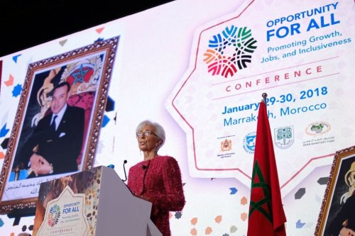 International Monetary Fund (IMF) Managing Director Christine Lagarde speaks during the IMF economic conference in Marrakesh on 30 January 2018. [STR/AFP/Getty Images]