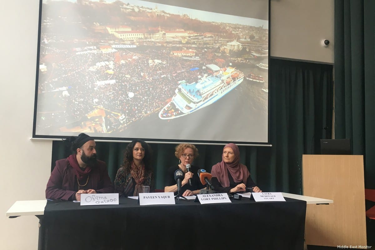 Survivors of the Gaza Freedom Flotilla come together in London to express concern at Israel's attempt to halt the International Criminal Court (ICC) investigations into the Israeli assault on the Mavi Marmara in 2010 [Middle East Monitor]