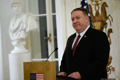 US Secretary of State Mike Pompeo makes a speech during a conference devoted to peace and security in the Middle East in Warsaw, Poland on 12 February 2019 [Omar Marques/Anadolu Agency]