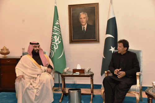 Prime Minister of Pakistan Imran Khan (R) meets Crown Prince of Saudi Arabia Mohammad bin Salman (L) in Islamabad, Pakistan on 17 February, 2019 [PRIME MINISTRY OF PAKISTAN/Handout/Anadolu Agency]