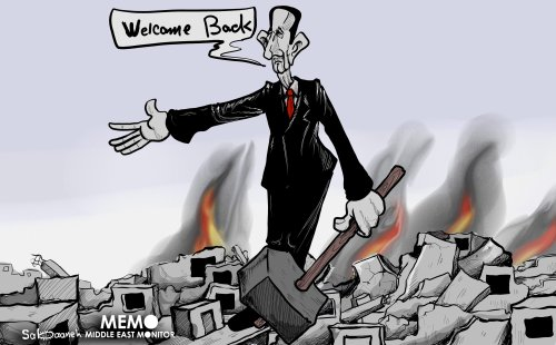 Bashar Al-Assad'schizophrenia: asking refugees to come back to Syria but at the same time keeps planning chemical attacks - Cartoon [Mohammad Sabaaneh/Middle East Monitor]