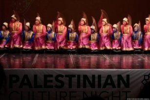 Aceh traditional dance group perform during a cultural night event marking the 54th Anniversary of the Palestinian Revolution in Jakarta, Indonesia on 27 February 2019 [Anton Raharjo/Anadolu Agency]