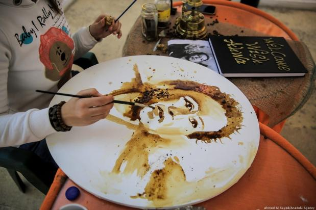 """""""You break the traditional rule, and indulge."""" Sara Medhat, 32, is an Egyptian artist who started her career about 10 years ago using your drawing tools. [Ahmed El Sayed/Anadolu Agency]"""