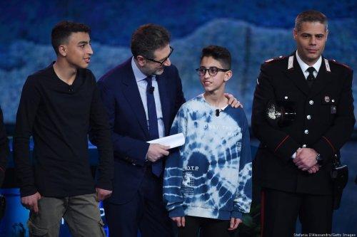 Rami Shehata, Fabio Fazio, Adam El Hamami, Maurizio Atzori attend Che Tempo Che Fa TV show on 24 March, 2019 in Milan, Italy [Stefania D'Alessandro/Getty Images]