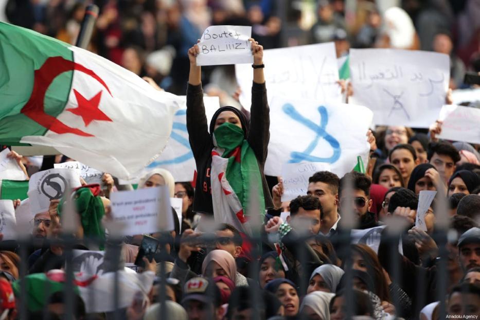 Algerian students gather to protest against the fifth term of Abdelaziz Bouteflika at the University of Algiers in Algiers, Algeria, on February 26, 2019. [Farouk Batiche - Anadolu Agency]